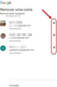 Como remover contas do Google salvas no navegador