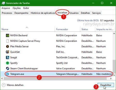 Remover Telegram da inicialização do Windows