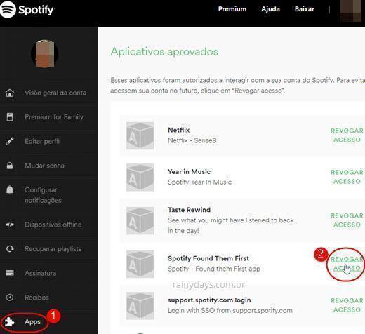 Como revogar acesso de aplicativos no Spotify