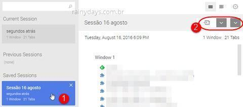 salvar e restaurar sessão do Chrome Session Buddy 3