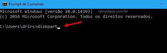 abrir diskpart no Windows