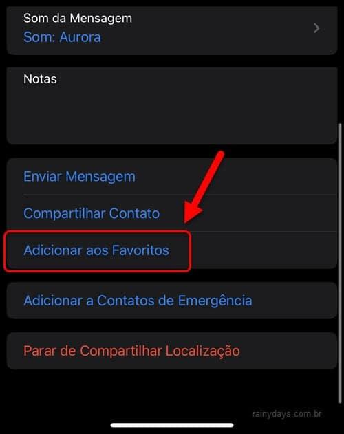 Adicionar ou remover favoritos no iPhone Contatos