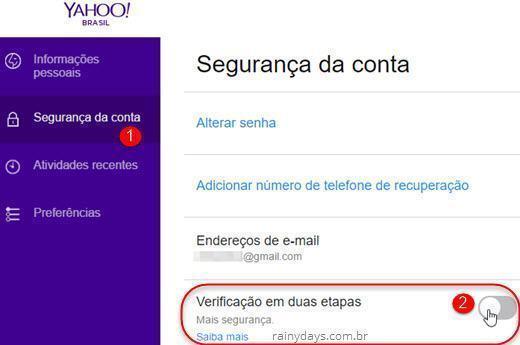 Ativar verificação em duas etapas no Yahoo