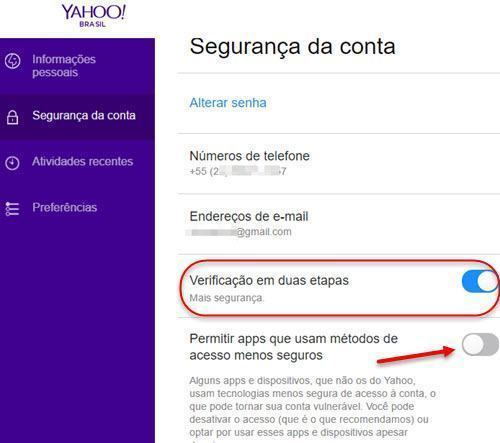 Ativar verificação em duas etapas no Yahoo 5