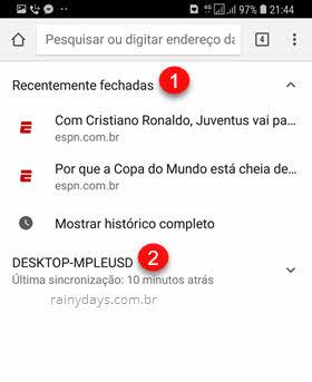 Chrome Android Guias Recentes fechadas no celular e computador