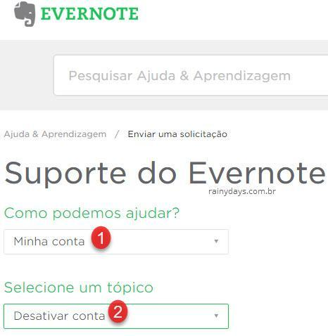como excluir conta do Evernote 1