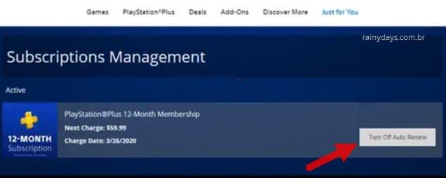 Desativar renovação automática da PSN pelo computador Playstation.com