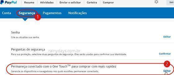 Como desativar PayPal One Touch em dispositivos e navegadores
