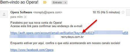 email de confirmação sync Opera