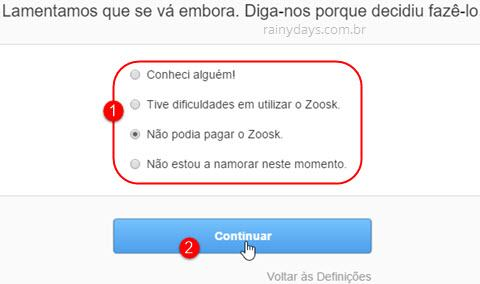 Como excluir conta do Zoosk 2