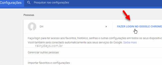 Fazer login no Google Chrome configurações