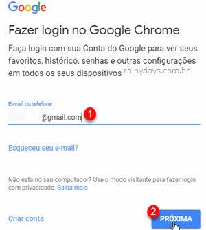 Fazer login no Google Chrome email