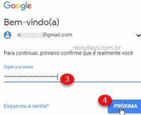 Fazer login no Google Chrome senha