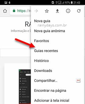 Guias recentes Chrome Android