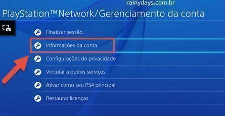 informações de conta PS4