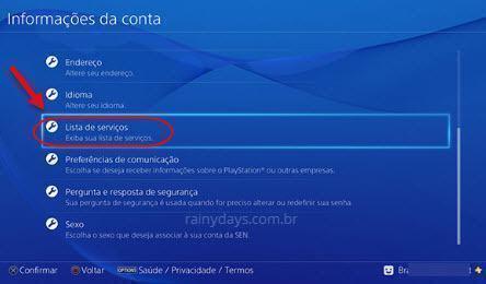 Lista de Serviços PS4