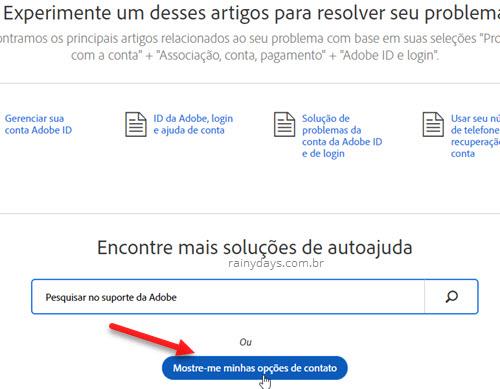 Opções de contato suporte Adobe