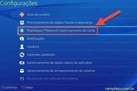 Playstation Network Gerenciamento de Conta PS4