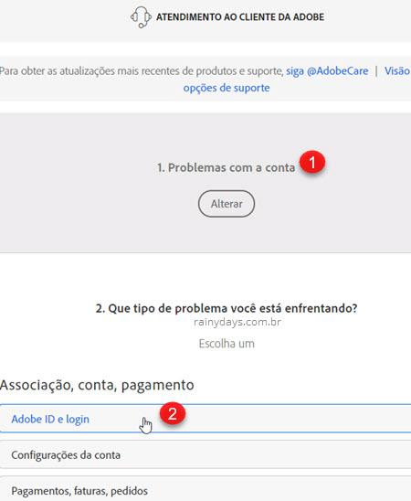 Problemas com a conta Adobe ID e login