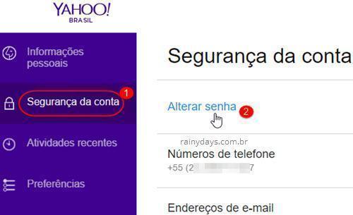 Segurança de conta Alterar senha Yahoo