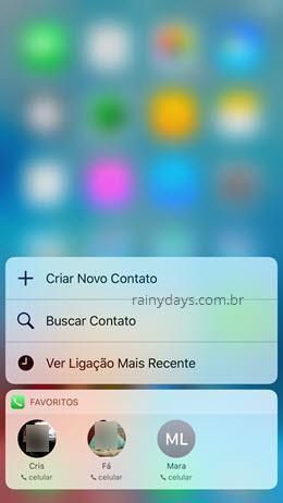 selecionando Favoritos no menu 3D Touch do iPhone