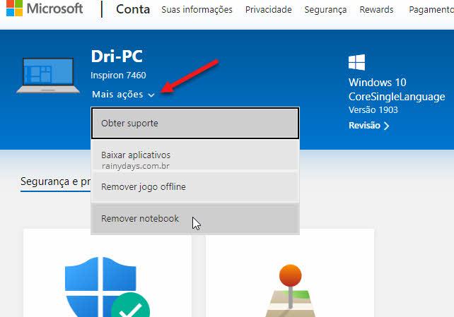 Setinha mais ações remover notebook desvincular dispositivo da conta Microsoft