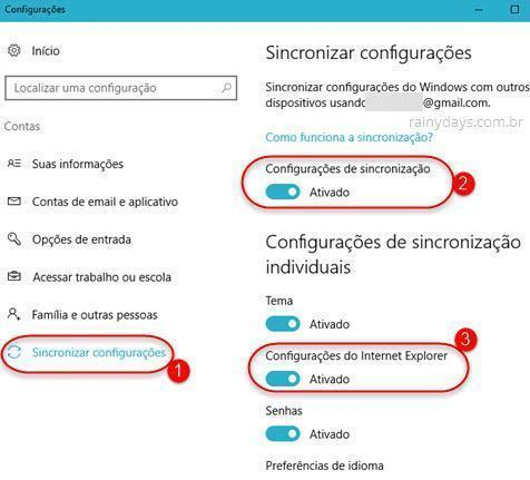 sincronizar configurações do Internet Explorer