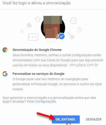 Você fez login e ativou a sincronização Chrome