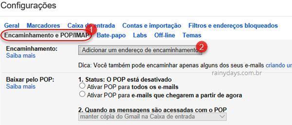 adicionar endereço de encaminhamento no gmail