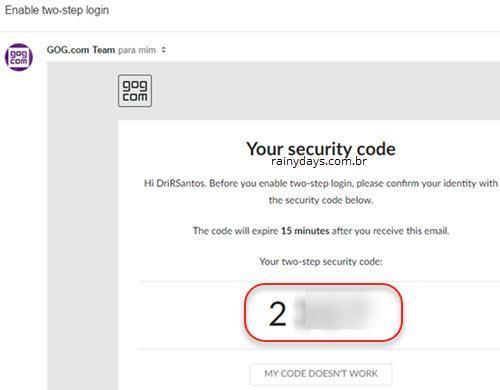 ativar verificação em duas etapas no GOG