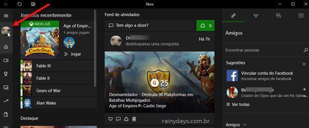 avatar do jogador no app Xbox