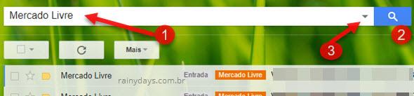 busca de email para criar filtro no Gmail
