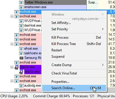 buscar online processo do Process Explorer