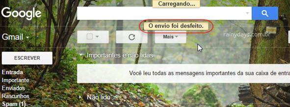 Cancelar Envio de email no Gmail