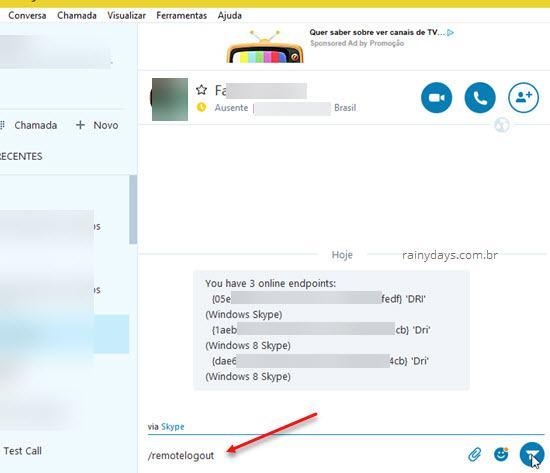 Como deslogar remotamente do Skype 3