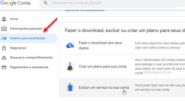 Como excluir conta do Google permanentemente
