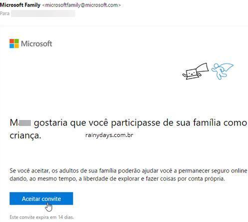 conectando conta Microsoft de criança com responsável 3