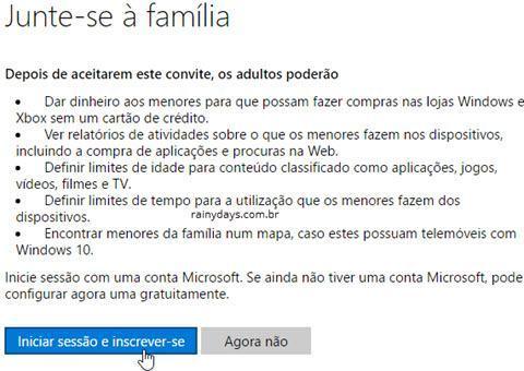 conectando conta Microsoft de criança com responsável 4