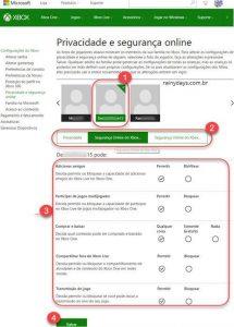 Modificar configurações da conta Xbox de criança