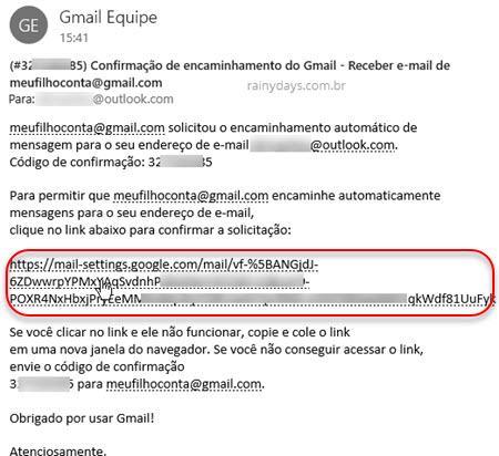confirmação de encaminhamento de email Gmail