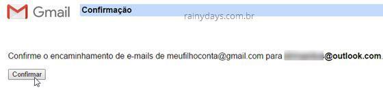 confirmar encaminhamento de email Gmail