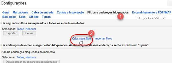 criar novo filtro no Gmail