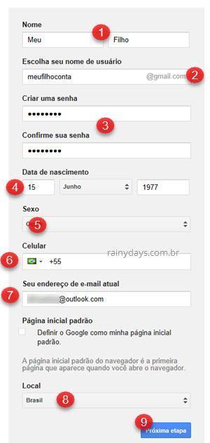 Como criar uma conta segura do Gmail para criança