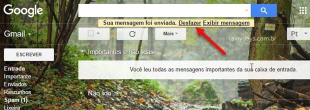 desfazer envio de email no Gmail cancelar