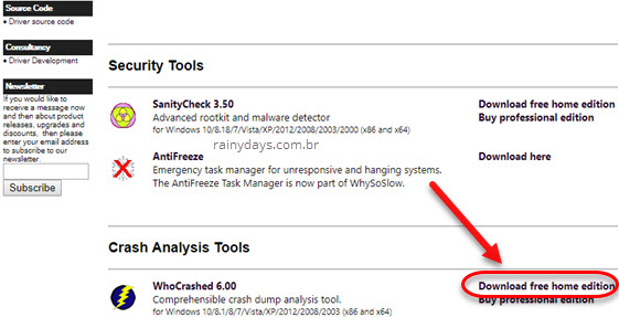 download WhoCrashed Tela Azul Windows