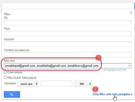 filtro excluir email que não tem