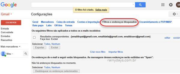 filtros e endereços bloqueados Gmail
