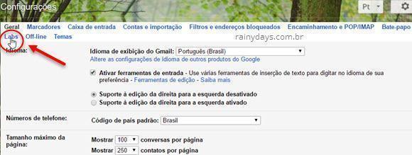 Gmail Labs recursos experimentais