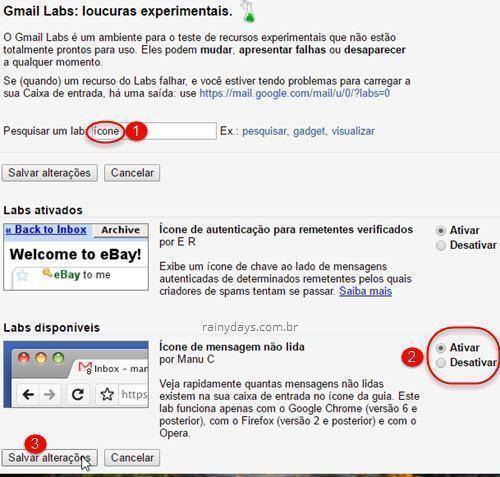 Mostrar ícone de mensagens não lidas na aba do Gmail