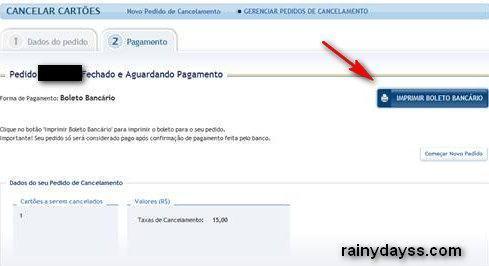 imprimir boleto bancário cancelamento RioCard